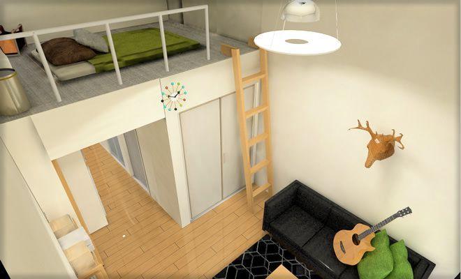 一人暮らしロフト付きワンルームのコーディネート 全体イメージ