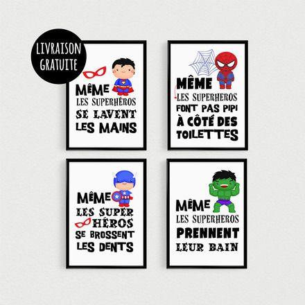"""PROMOTION !!! Lot de 4 POSTERS citations de super héros """"Même les superhéros font pas pipi à côté des toilettes"""", """"Même les superhéros prennent leur bain"""", """"Même les super - 18234113"""