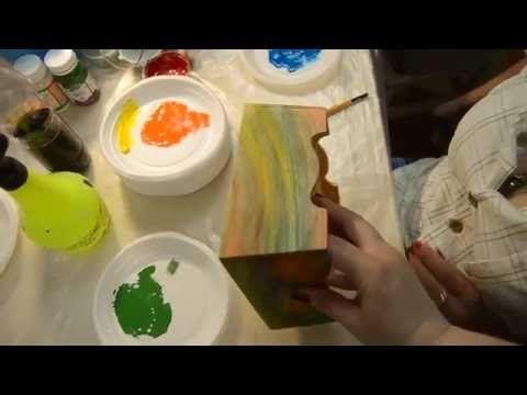 Декупаж. Радужный рисунок дерева. Лессировка. . Обсуждение на LiveInternet - Российский Сервис Онлайн-Дневников