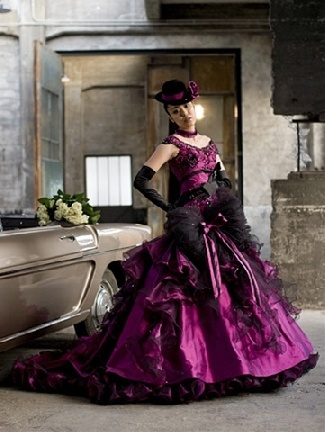 purple gothic wedding dress from WeddingDressFantasy.com
