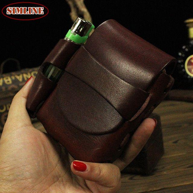 Vintage High Quality 100% Genuine Leather  Waist Belt Bag Pack Cigarette Case For man $15.98
