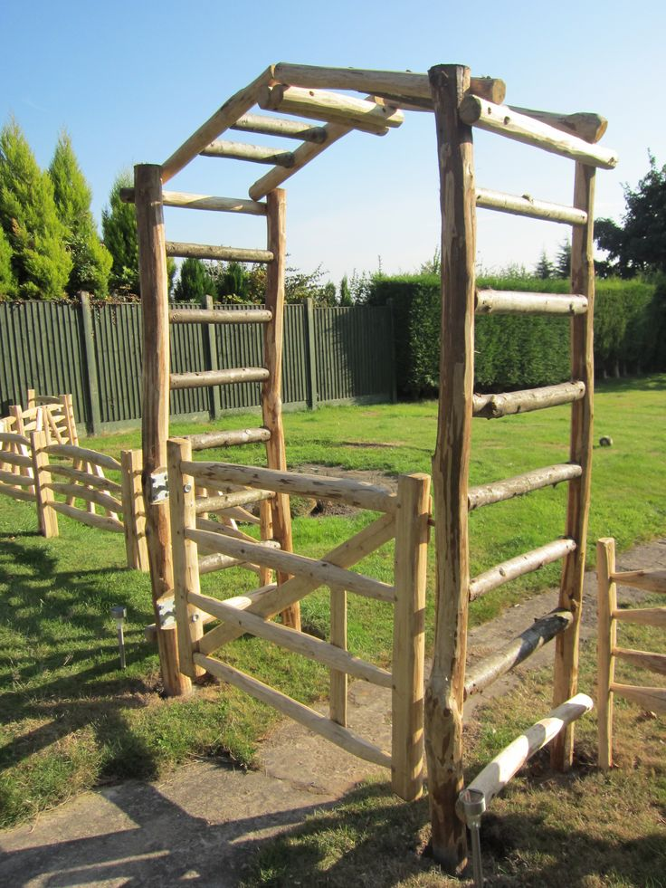 Handmade cleft Sweet Chestnut field gate, garden arch and gate hurdle fence from the Creative Coppice Co.