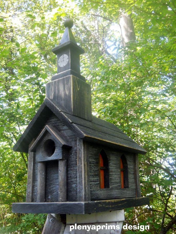 Church Birdhouse Clock Tower,antiqued Church 2 Nest Birdhouse Dollhouse  Display