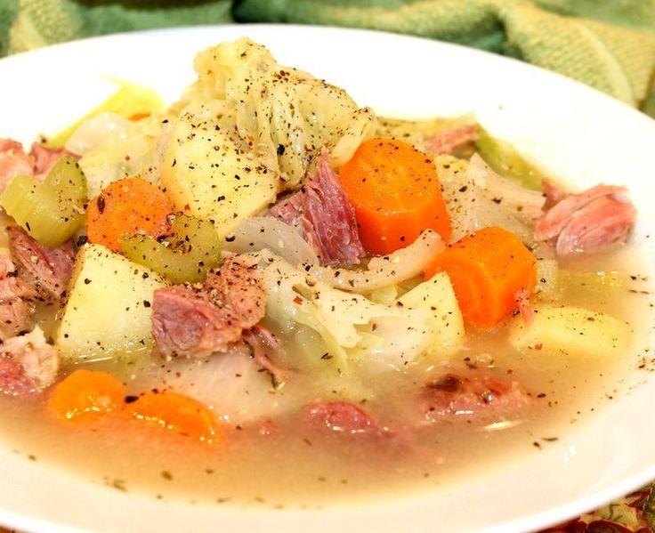 Boiled dinner - cabbage & ham stew -use ham shoulder or ham butt if you cannot find ham shanks