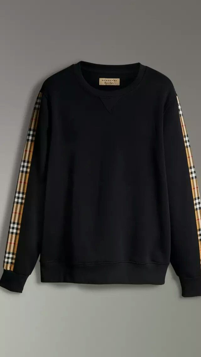 save off a61e9 822e2 Burberry Vintage Check Detail Cotton Blend Sweatshirt