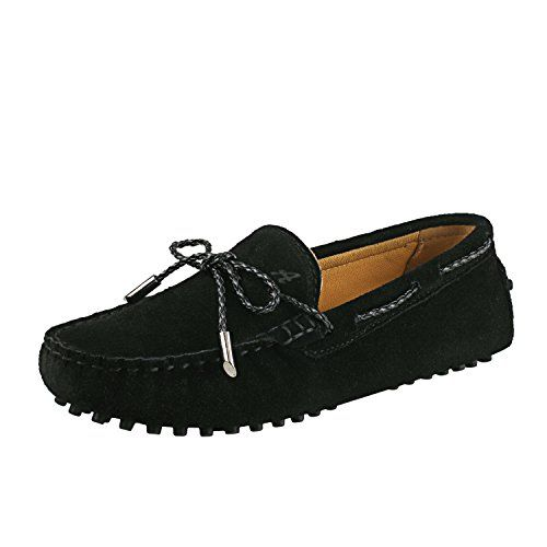 39557b829532 Shenduo Classic Mocassins femme daim - Loafers multicolore - Chaussures  bateau   de ville confort D7051 Noir 37
