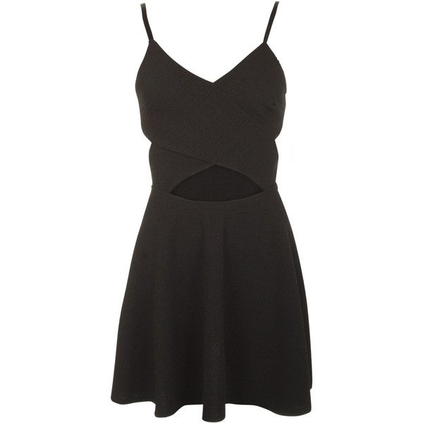 Sigourney Strappy Cut Out Skater Dress ($29) ❤ liked on Polyvore featuring dresses, black, cocktail party dress, party dresses, going out dresses, summer dresses and black skater dress