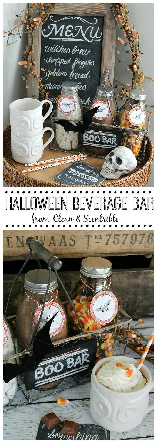 Love this cute Halloween Beverage Bar. Free printables included to create your own. // cleanandscentsible.com
