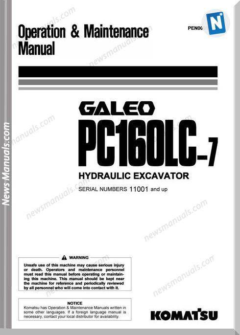Komatsu Pc160Lc 7 Galeo Operation And Maintenance Manual