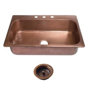 SINKOLOGY Angelico Drop-In Copper Sink 33 in. 3-Hole Single Bowl Kitchen Sink in Antique Copper and Disposal Drain-SK101-33AC-D - The Home Depot
