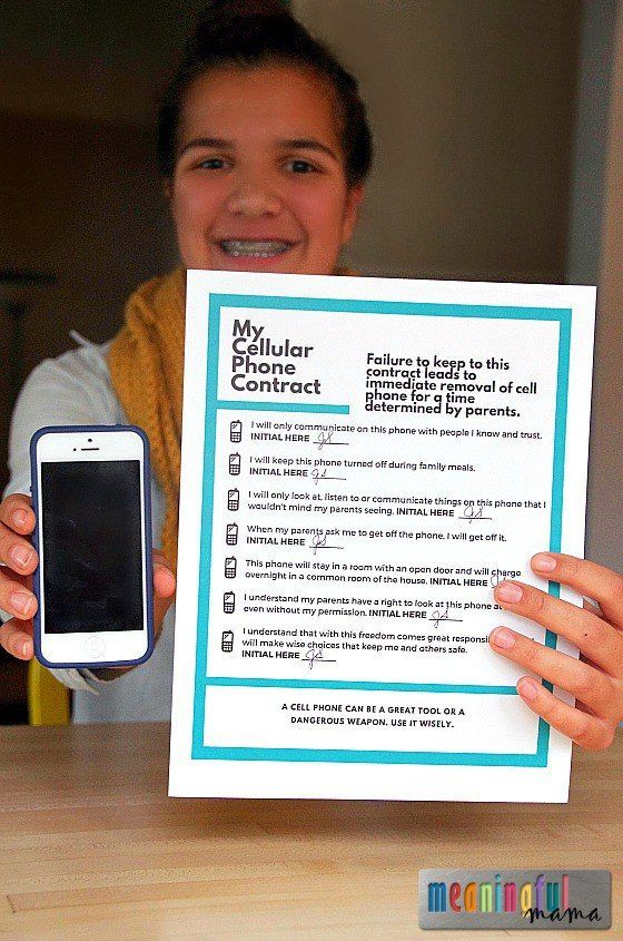 FREE Printable Cell Phone Contract for Kids and Teens