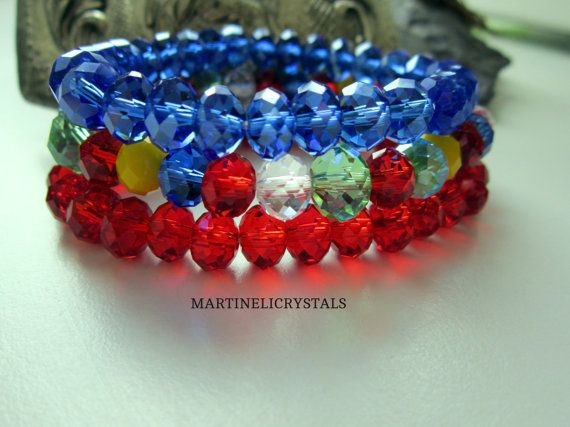 Multicolor Crystal Blacelet Rainbow Bracelet by MARTINELICRYSTALS