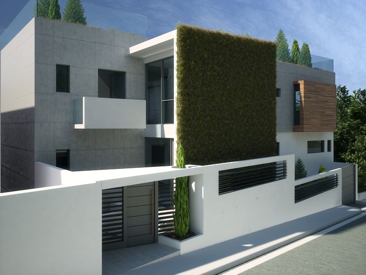 North View of Filopappou Residence. AkPraxis' work in Progress. Sustainable design with green roofs and green walls. To see more 3d images of that project visit http://www.akpraxis.gr/projects/
