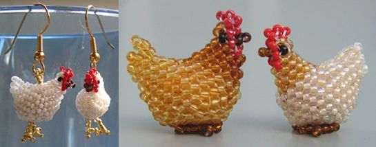 3D Chicken   The 12th in a series of peyote animals. Make a single chicken, or a pair of cute earrings. It takes about 50 - 60 minutes to make one.  This sculptural peyote chicken is constructed around a big oval bead - similar to the way beaded beads are made.  The pattern contains comprehensive visual and written instructions. At each step, the diagrams and words work together to make the project fun and easy to understand.