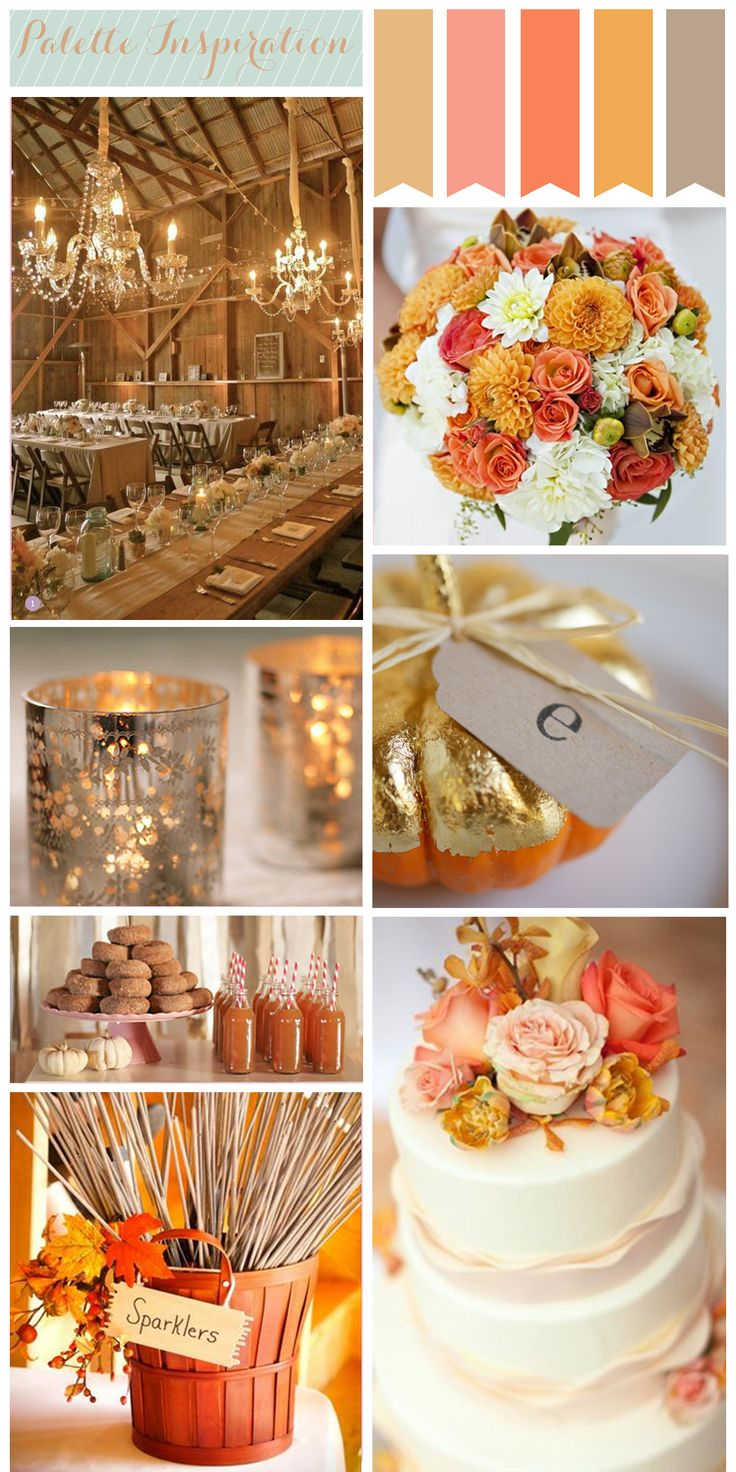 color palette inspiration: autumn wedding maple sugar candies apple cider donuts