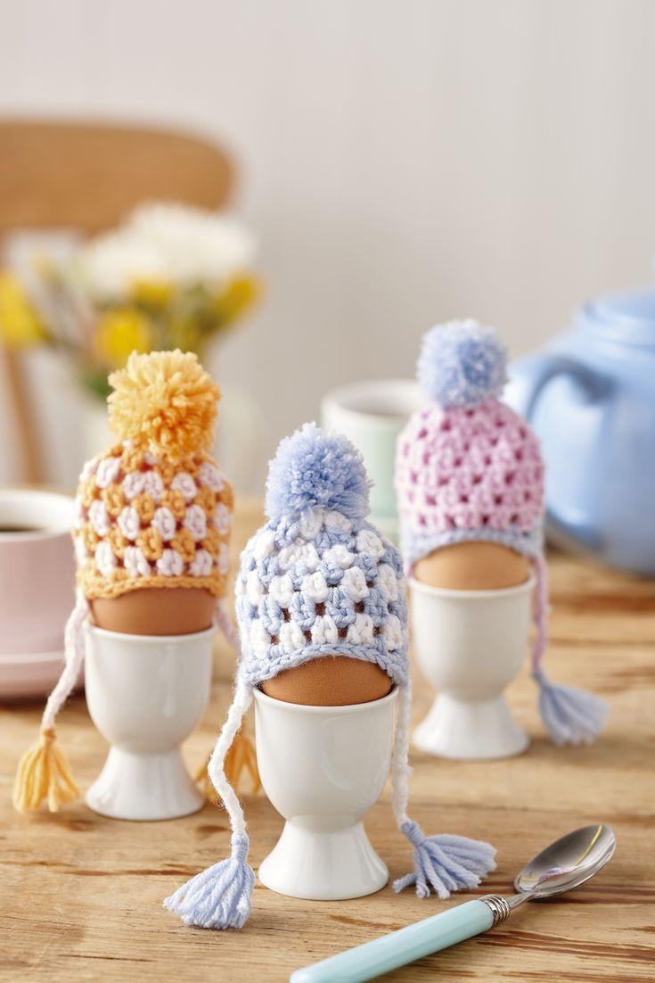Crochet bobble hat egg cosies // Homemaker, Issue 42