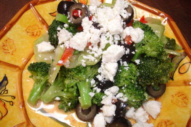 Broccoli in a light dijon vinegrette. The Black Olives and Feta give it a unique flavor