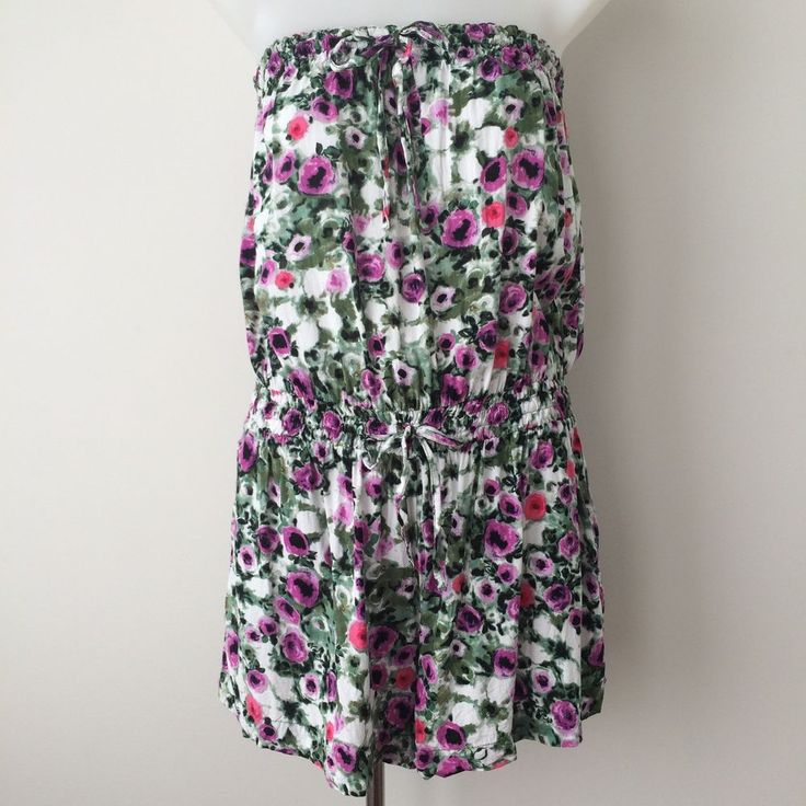 SEAFOLLY Playsuit Floral Strapless Size Small Pockets Elasticised Tie Romper  | eBay