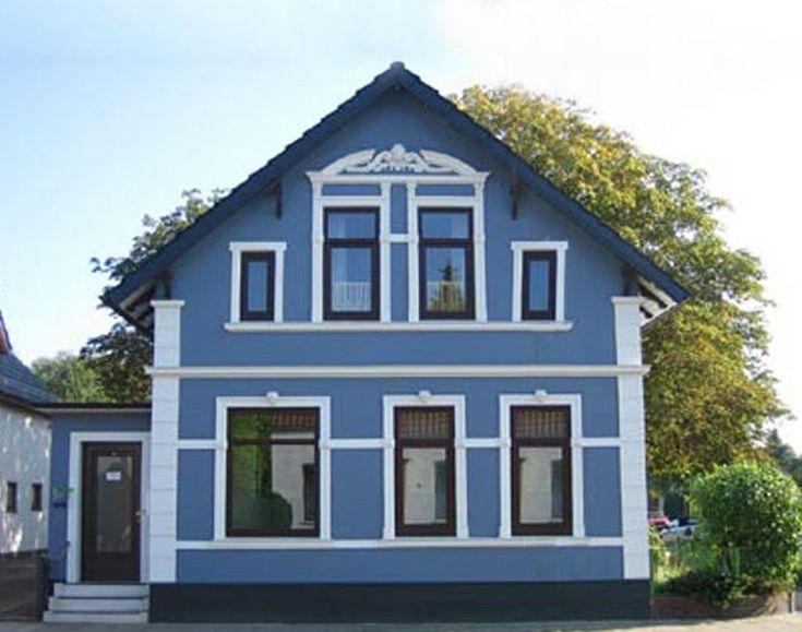 Hausfassade Blau Weisse Akzente Hausfassade Fassade
