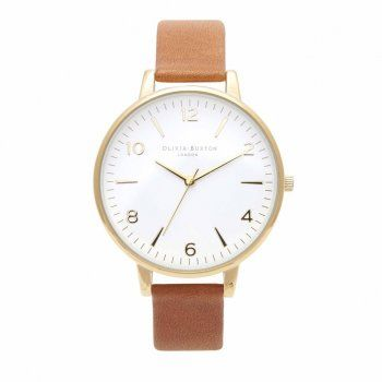 tan and white large face watch - olivia burton