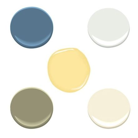 Benjamin Moore Blue Nose,  White Diamond, Elephant Tusk, Cypress Green, Hawthorne Yellow, via #RoomLust