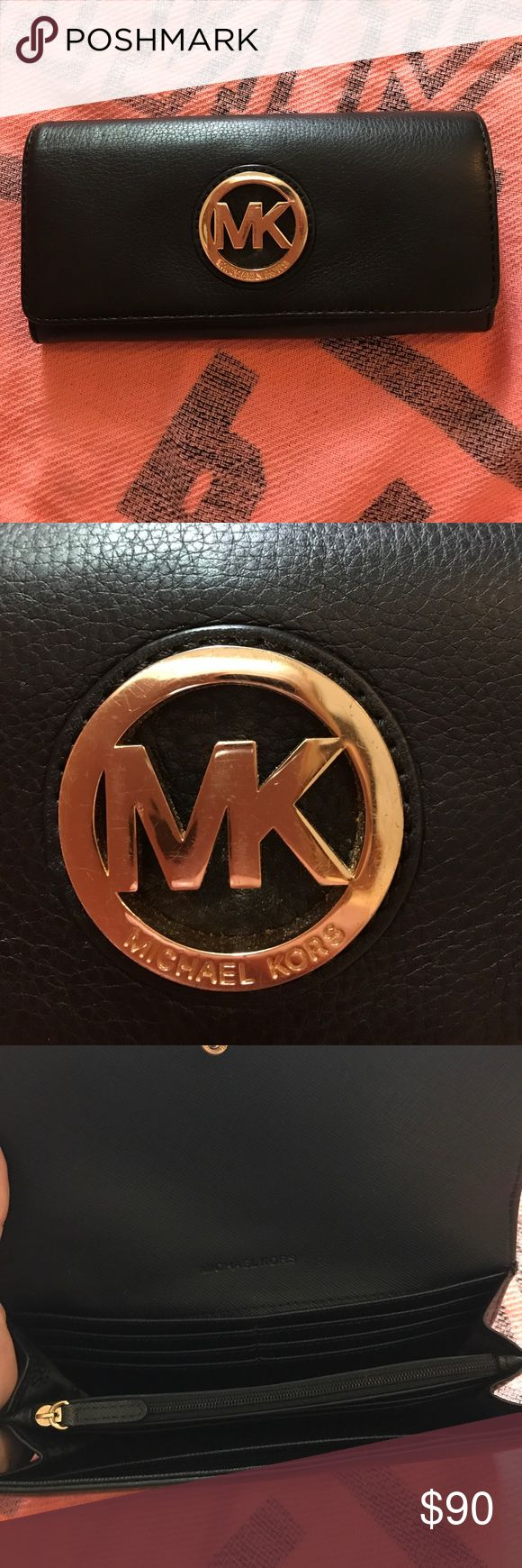 Super Cute Michael Kors Wallet Excellent Condition This Black Soft Leather Michael Kors Wallet Is In Amazing Condition Just A Few Small Scratches On Michael Kors Front Plate As Pictured Hardly Noticeable. Tons Of Compartments Holds Everything You Might Need Michael Kors Bags Wallets