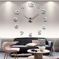 Spiegel Edelstahl Wand Uhr Wohnzimmer wanduhr wandtattoo Deko 100-130 cm