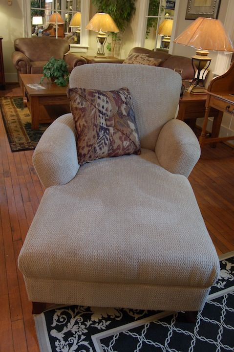Wouldn't you love to relax in this attractive chaise lounge chair by England Furniture Company? Includes one throw pillow and is manufactured in the U.S. Matching sofa and loveseat available in hundreds of different colors and fabrics. Customized to your liking and delivered in as little as four weeks.