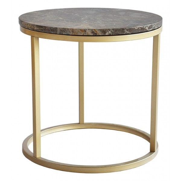 Accent soffbord runt, Ø50, brun marmor/matt mässing - Kungsmöbler