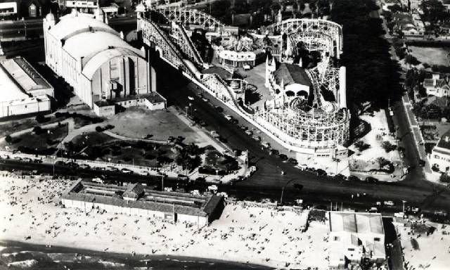 Luna Park and Palais Theatre from the air.