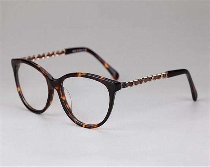 DOWER ME Women Elegant Fashion Full Rim Acetate PU Metal Chain Brand Design Luxury Eyeglass Myopia Optical Eyewear Frame ZM3221