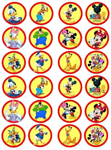 Mickey Mouse Clubhouse Edible Images 48  ( 1.5 Inches ) Cupcake or Cookie Toppers