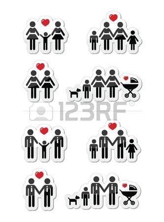 Gays, casais de lésbicas e familiares com ícones infantis definir