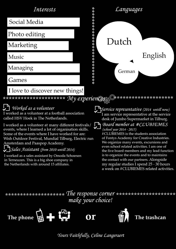 The third page of my Curriculum Vitae. Made in Photoshop.