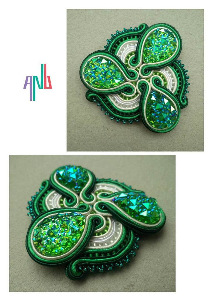 Handmade ANU Jewelry Soutache Brooche Green