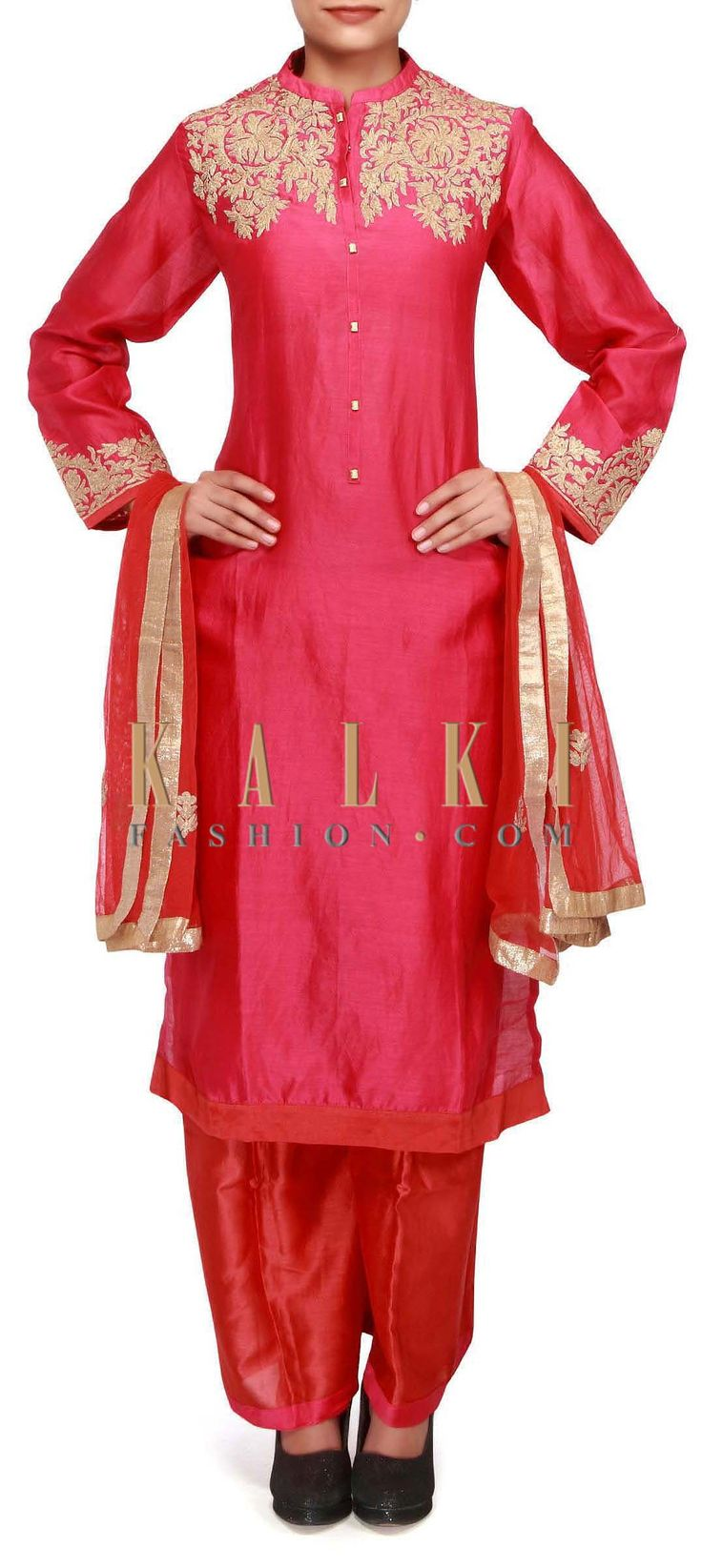 Buy Online from the link below. We ship worldwide (Free Shipping over US$100). http://www.kalkifashion.com/pink-straight-fit-suit-adorn-in-zari-embroidery-only-on-kalki.html