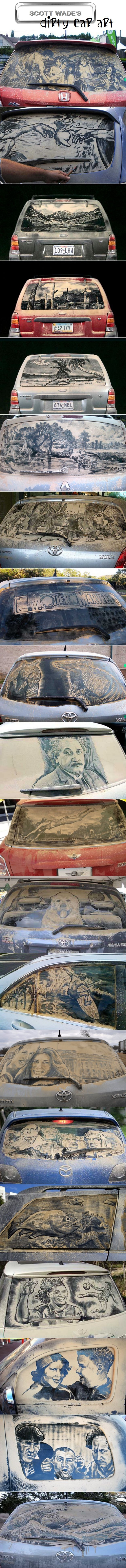 """Check out these really cool """"Dirty Car Art"""" pictures."""