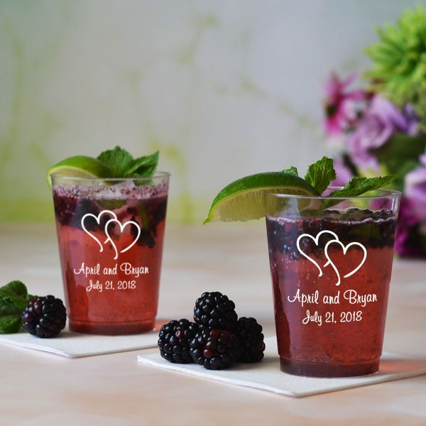 Order 10 ounce clear plastic tumbler cups personalized with your choice of wedding design and up to 4 lines of custom print for that finishing detail to turn your wedding reception into a memorable celebration. Serve guests with a splash of your own personal style by choosing the letter style, color, text, and design to be printed on the cups. See them here:  http://myweddingreceptionideas.com/10_oz_personalized_clear_plastic_tumblers.asp