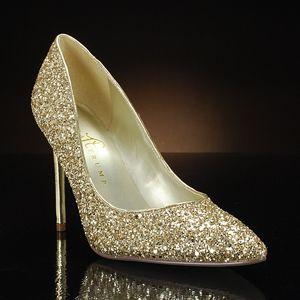 KAYDENA BY IVANKA TRUMP A Beautiful Sparkly Gold Wedding Shoe At MyGlassSlipper