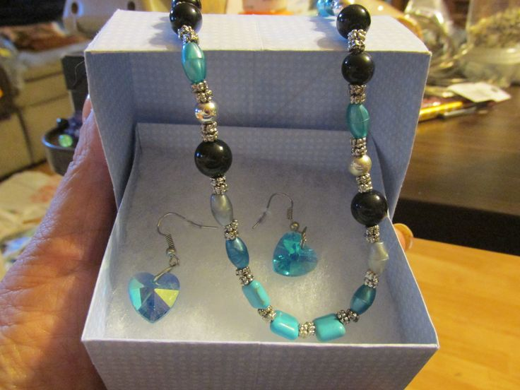 hand beaded necklace and matching earrings