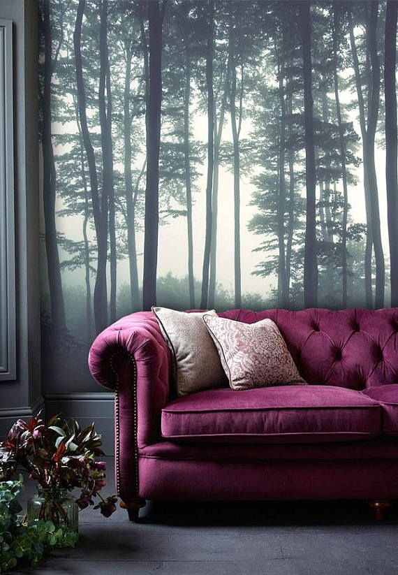 Dreamy Foggy Forest Scene Mural Misty Forests Mural Forest Haze Wallpaper Wall Decor Wall Decal Nursery An Forest Wall Mural Forest Wallpaper Forest Mural