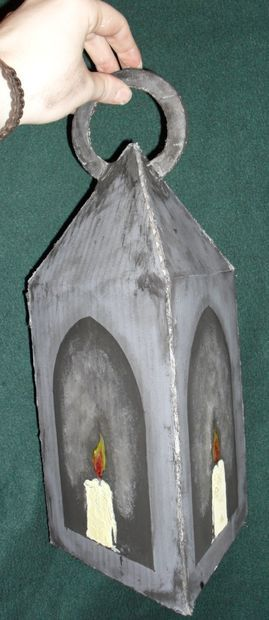 DIY: Victorian Candle Lantern made from cardboard.  Inexpensive.  Halloween Horrors in Victorian London Party Decorating & Ideas