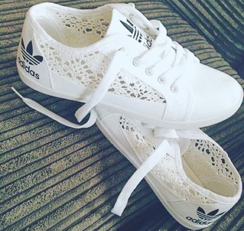 Sneakers For Girl : Picture Description Adidas Summer Themed Crochet Whtie  Sneakers