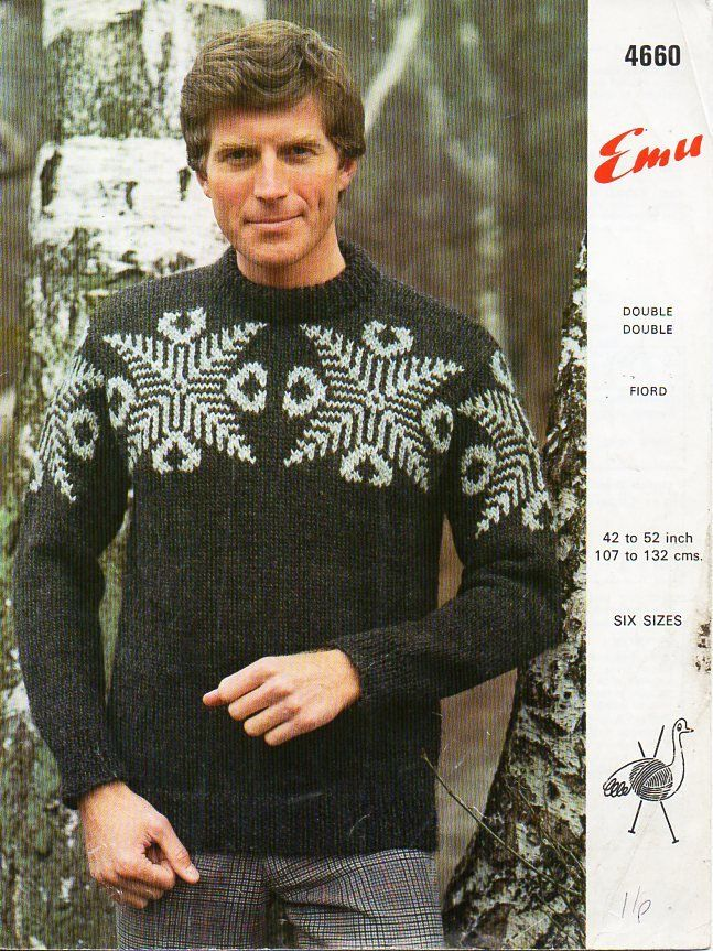 3b2684391 vintage mens fair isle sweater knitting pattern pdf mans fairisle jumper  larger size 42-52