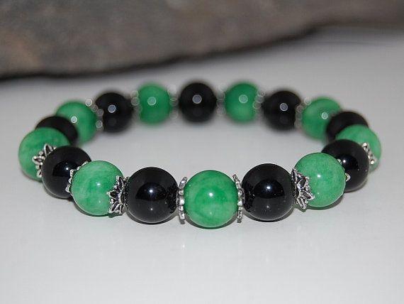 Green Jade Bracelet,Gemstone Beads,10mm Beads,Good luck Bracelet,Mala,Tibet ,Nepal,Prayer ,Meditation,Yoga,Protection, Man, Woman,Good Luck