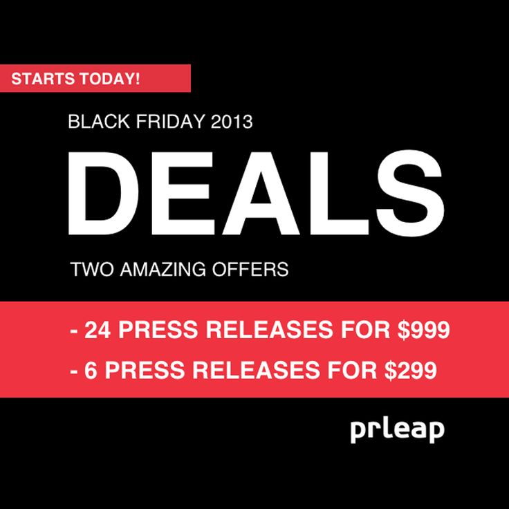 Black Friday Deals for PRs Come Early: PRLeap Announces Special Packages