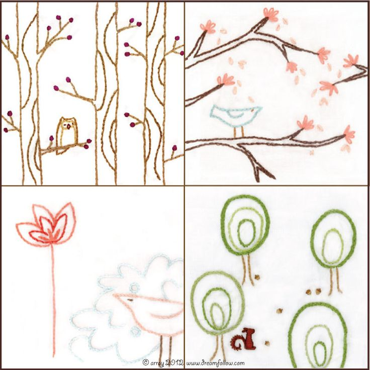 Set of bird and tree embroidery patterns series pdf