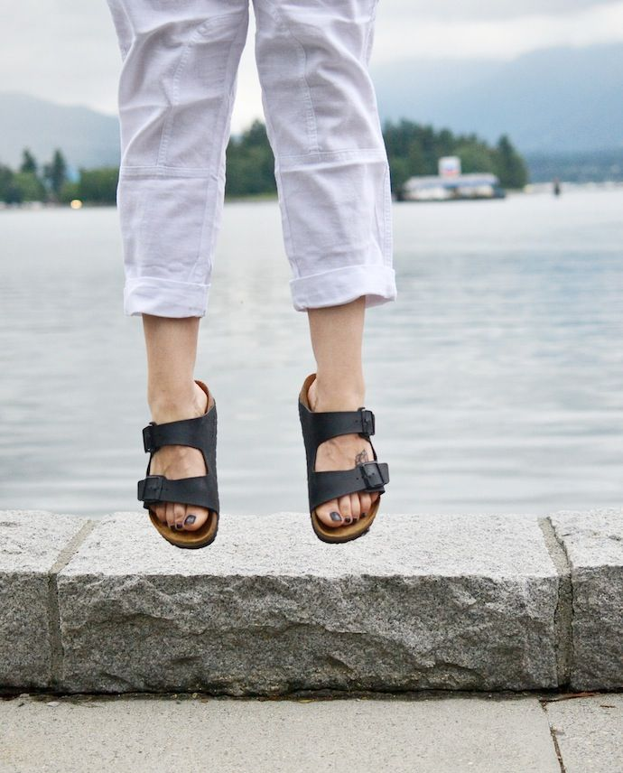 Jumping for joy in my #Birkenstocks and #GapFactory pants! See more at covetandacquire.com