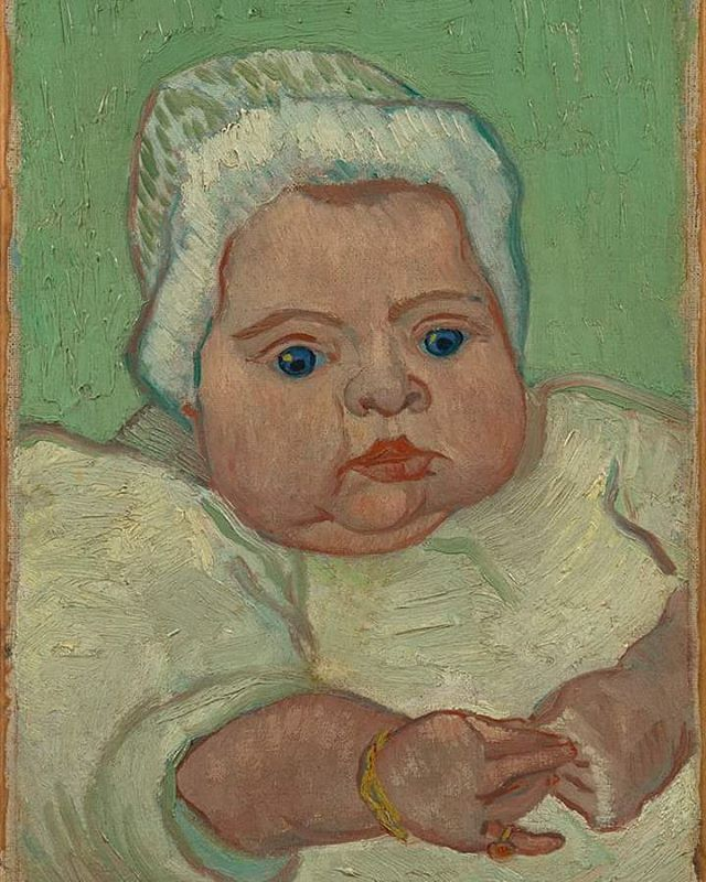 "#OnThisDay in 1889 Vincent's sister-in-law Jo van Gogh-Bonger wrote to him: ""Do you remember the portrait of the Roulin baby you sent Theo? Everyone admires it greatly, and many times now people have asked 'but why have you put this portrait in this out-of-the-way corner?' It's because – from my place at table I can just see the child's big blue eyes, its pretty little hands and round cheeks, and I like to imagine that ours will be as strong, as healthy and as beautiful as that one – and…"