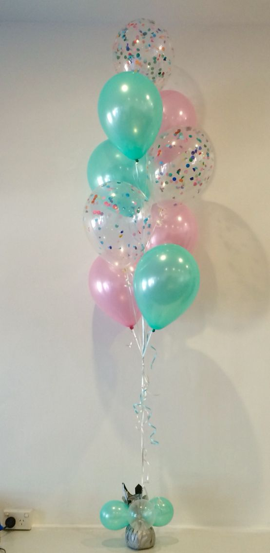 Mint green pearl pink and confetti filled balloons so